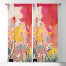 blooming abstract pink Blackout Curtain