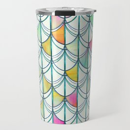 Pencil & Paint Fish Scale Cutout Pattern - white, teal, yellow & pink Travel Mug