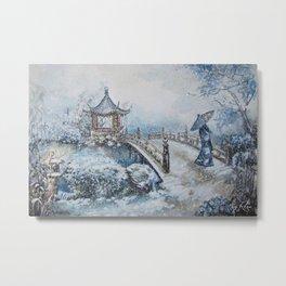 Snowstorm (Winter) Merry Christmas Metal Print