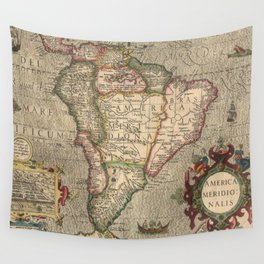 Vintage Map of South America (1606) Wall Tapestry