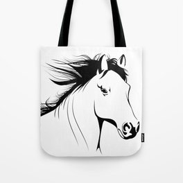 Simple Horse In Black & White Animal Art Tote Bag