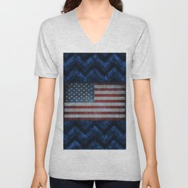 Cobalt Blue Digital Camo Chevrons with American Flag Unisex V-Neck