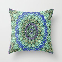 Lovely Healing Mandala  in Brilliant Colors: Purple, Black, Gold, Mint, and Sunset Yellow Throw Pillow