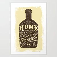 whiskey Art Prints featuring Whiskey by irosebot