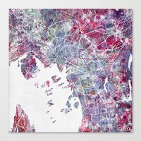 oslo Canvas Prints featuring Oslo Map by MapMapMaps.Watercolors