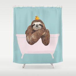 Sloth in Bathtub  Shower Curtain