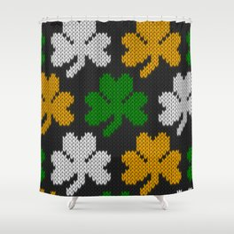 Shamrock pattern - black, orange, green, white Shower Curtain