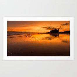 Sunrise at Bamburgh Beach Art Print