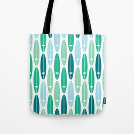Vintage Surf Boards in Turquoise, Teal and Blue Tote Bag