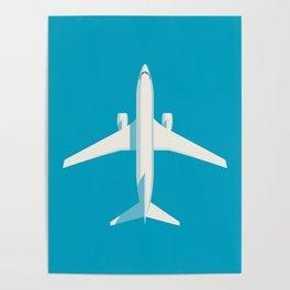 737 Passenger Jet Airliner Aircraft - Cyan Poster
