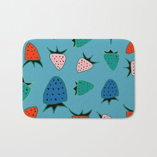 strawberry blue Bath Mat