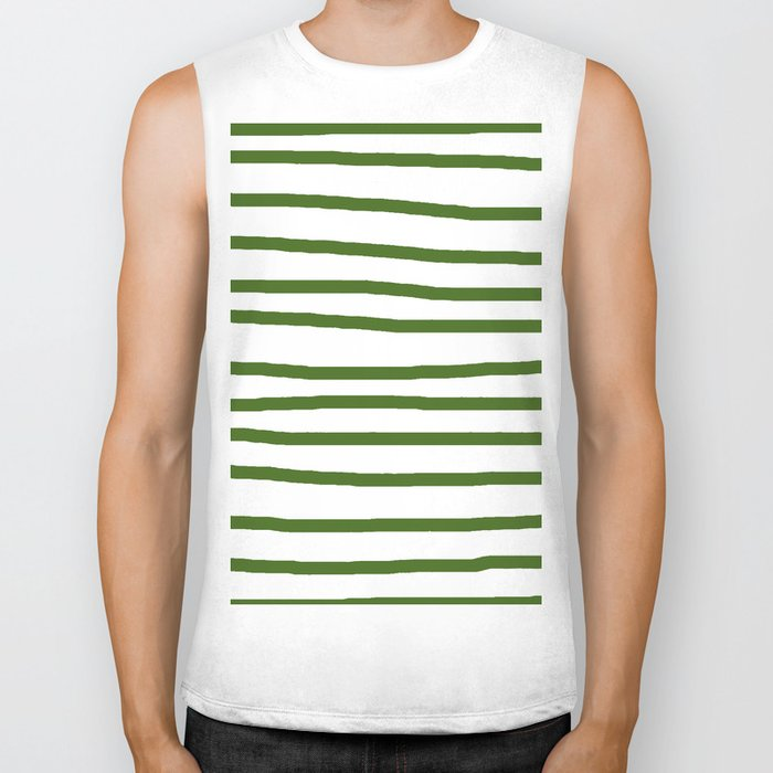 Simply Drawn Stripes in Jungle Green Biker Tank
