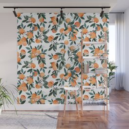 Dear Clementine - oranges on white Wall Mural