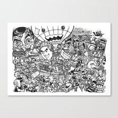 Cartoon Wedding Poster Canvas Print