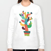 cactus Long Sleeve T-shirts featuring Whimsical Cactus by Picomodi