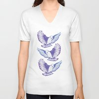 wings V-neck T-shirts featuring Wings by Kellie Jerrard