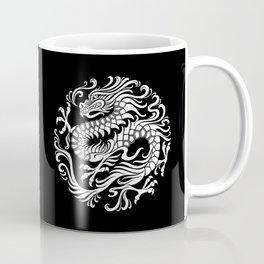 Traditional White and Black Chinese Dragon Circle Coffee Mug