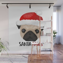 Christmas Pug | Santa Paws Wall Mural
