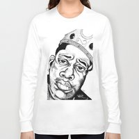 biggie smalls Long Sleeve T-shirts featuring Biggie Smalls Stippling by Tom Brodie-Browne