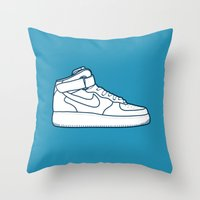 nike Throw Pillows featuring #13 Nike Airforce 1 by Brownjames Prints