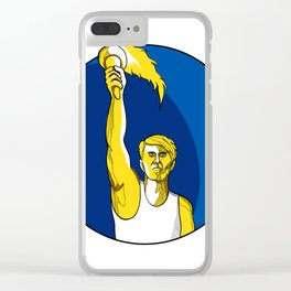 Athlete With Flaming Torch Drawing Clear iPhone Case