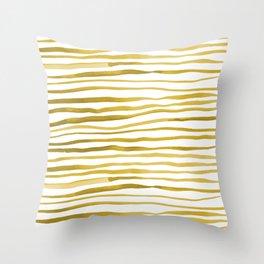 Irregular watercolor lines - yellow Throw Pillow