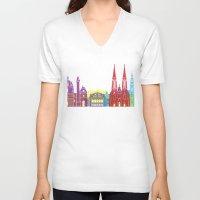 vienna V-neck T-shirts featuring Vienna skyline pop by Paulrommer