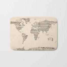 Old Sheet Music World Map Bath Mat