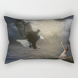 The girl and the eagle Rectangular Pillow