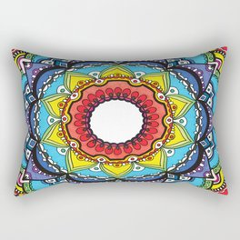 Red & Rainbow Mandala Drawing Rectangular Pillow