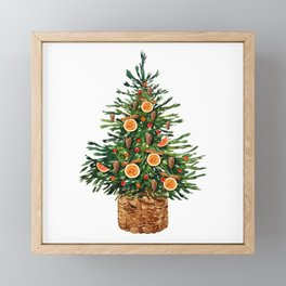 Watercolor Christmas Spruce Tree Framed Mini Art Print