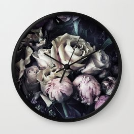 Roses and peonies vintage style Wall Clock