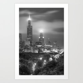 Chicago Skyline at Night in Black and White Art Print