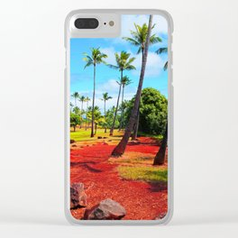 palm trees with green tree and blue cloudy sky in summer Clear iPhone Case