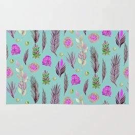 Hand painted pink lavender teal watercolor floral leaves Rug