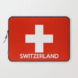 Switzerland country flag name text swiss Laptop Sleeve