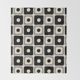 Mid Century Modern Square Dot Pattern 771 Black and Gray Throw Blanket