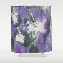 Marbled Ink - Purple Gray & White Shower Curtain