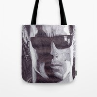terminator Tote Bags featuring Terminator by DeMoose_Art
