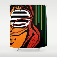 lips Shower Curtains featuring Lips by David Navascues