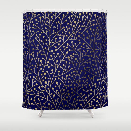 Gold Berry Branches On Navy Shower Curtain By Cat Coquillette Society6