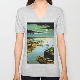 Providence River & Narragansett Bay, Circa 1900 Portrait Painting Unisex V-Neck