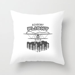Vintage Airplane Emblem Throw Pillow