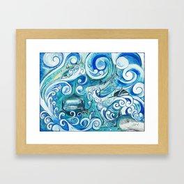 Shark wave Framed Art Print