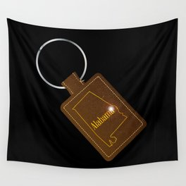Alabama Leather Key Fob Wall Tapestry