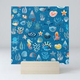 playful sea life pattern Mini Art Print