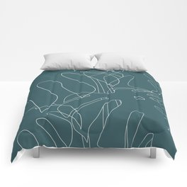 Monstera No2 Teal Comforters