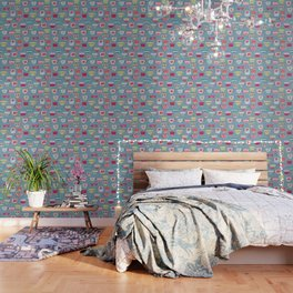 China Teacups on Teal Wallpaper