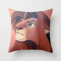 simba Throw Pillows featuring Simba by Jgarciat