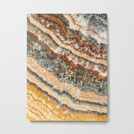 Agate Crystal III // Red Gray Black Yellow Orange Marbled Diamond Luxury Gemstone Metal Print